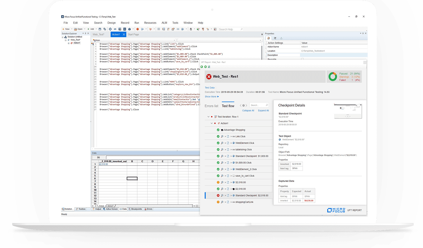 Unified Functional Testing - UFT One - Screenshot