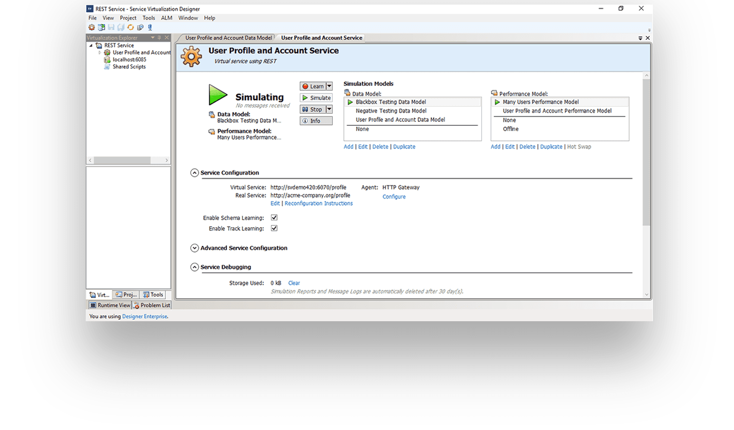 Service Virtualization screenshot - ADM